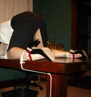 naughty secrtary tied to desk