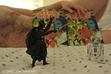 Man reading Stars Wars comic nude