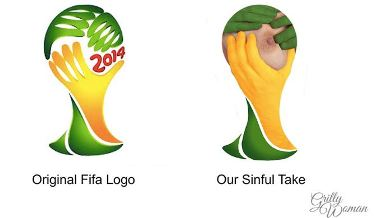 World cup logo with boobs