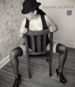 Caberat style sexy woman in chair