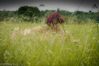 Molly in field of long grass