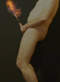man with fireworks shooting out of his cock