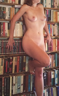 Naked woman in library
