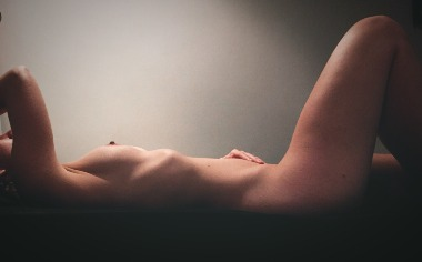 Naked woman on side view