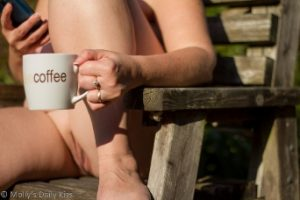 Molly sitting naked in the sun drinking coffee sinful sunday