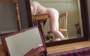 Reflection of nude woman leading over dining table Sinful Sunday