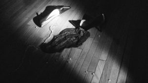 Discarded panties, shoes and broken pearl necklace on the floor