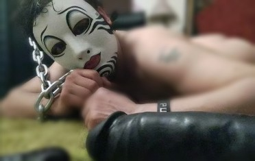 Man in creepy mask with large black dildo sinful sunday