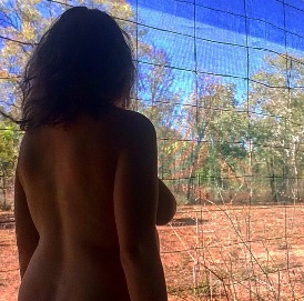 Woman nude in Australian outback