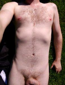 man sunbathing naked selfie shot sinful sunday