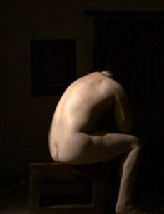 Nude man self portrait like a roman statue