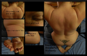 Collage of parts of a womans body with portrait of her back and shoulders as the main image