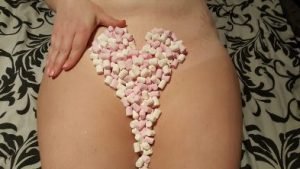 Marshmellows on womans pubis like pubic hair
