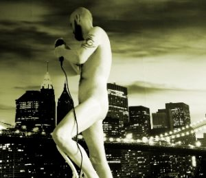 Nude man drilling hole in the city sky line