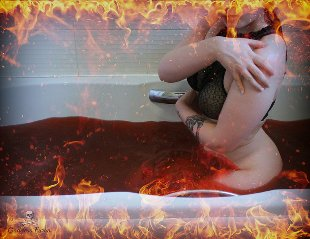 Woman in fire red bath water
