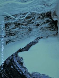 Mermaid flowing hair in blue tones