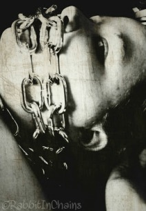 Woman with chains over her mouth, image edited with dark sinister black and white