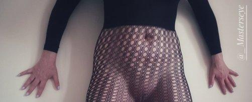 woman wearing fishnet tights