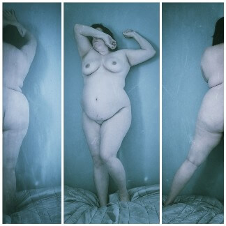 Triptych of nude curvy woman with blue tint