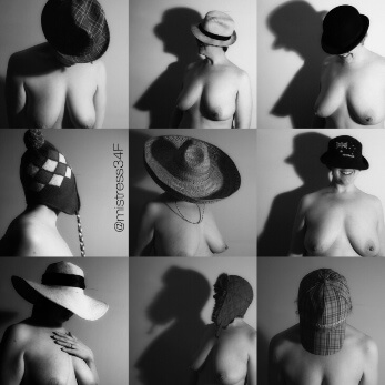 collage or topless woman in different types of hats