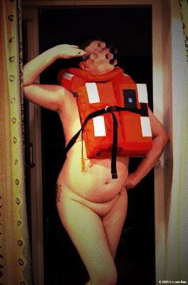 naked woman in life vest