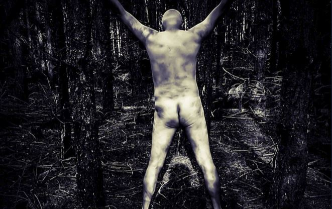 nude man tied up in the woods