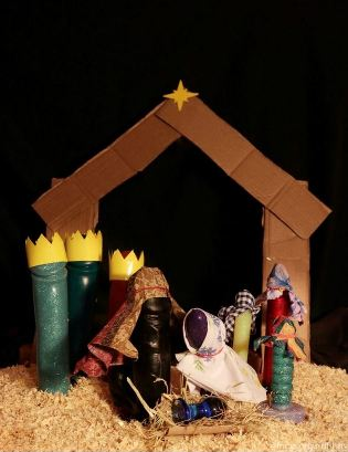 Nativity scene with sex toys as the figures