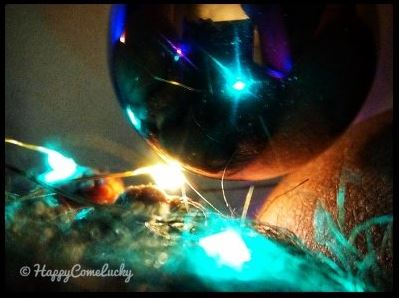 womans pubes reflected in christmas bauble