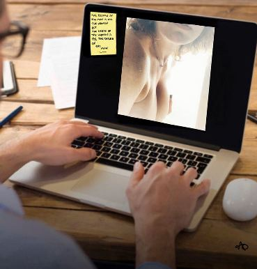 woman topless on computer screen