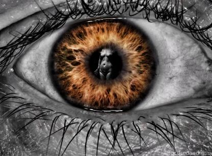 surreal image naked woman in the centre of someones eye