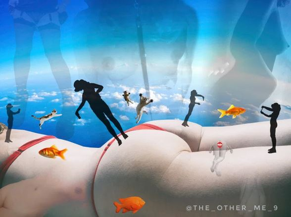 surreal image of woman in bikini with floating naked silhouettes