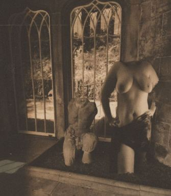 headless torse statue in abandoned church with antique edit on the image
