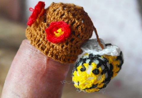 penis with knitted flower hat on the top