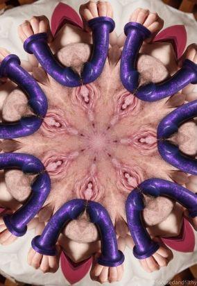 kaleidoscope image of womans vulva with purple dildo